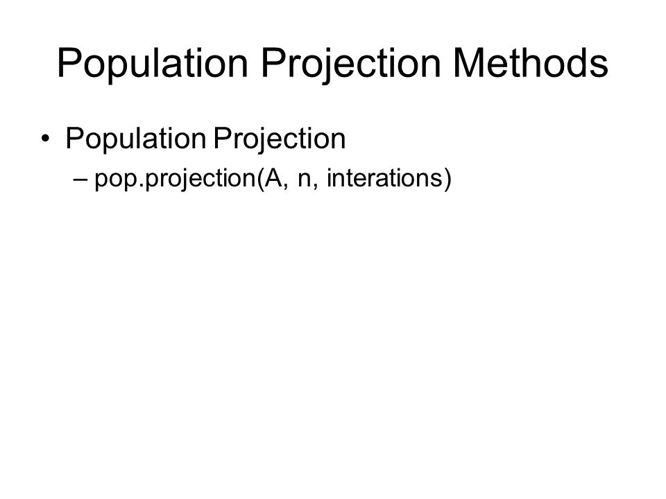 Population Projection Methods