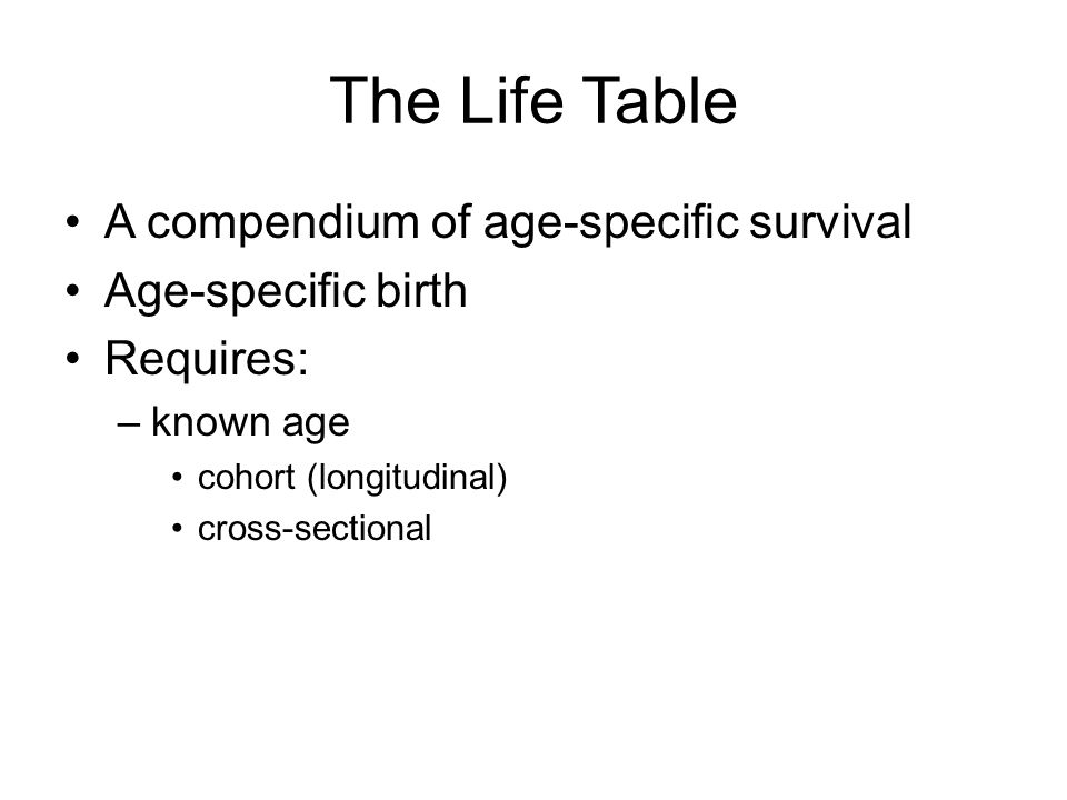 The Life Table A compendium of age-specific survival