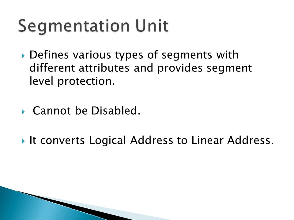Segmentation Unit Defines various types of segments with different attributes and provides segment level protection.