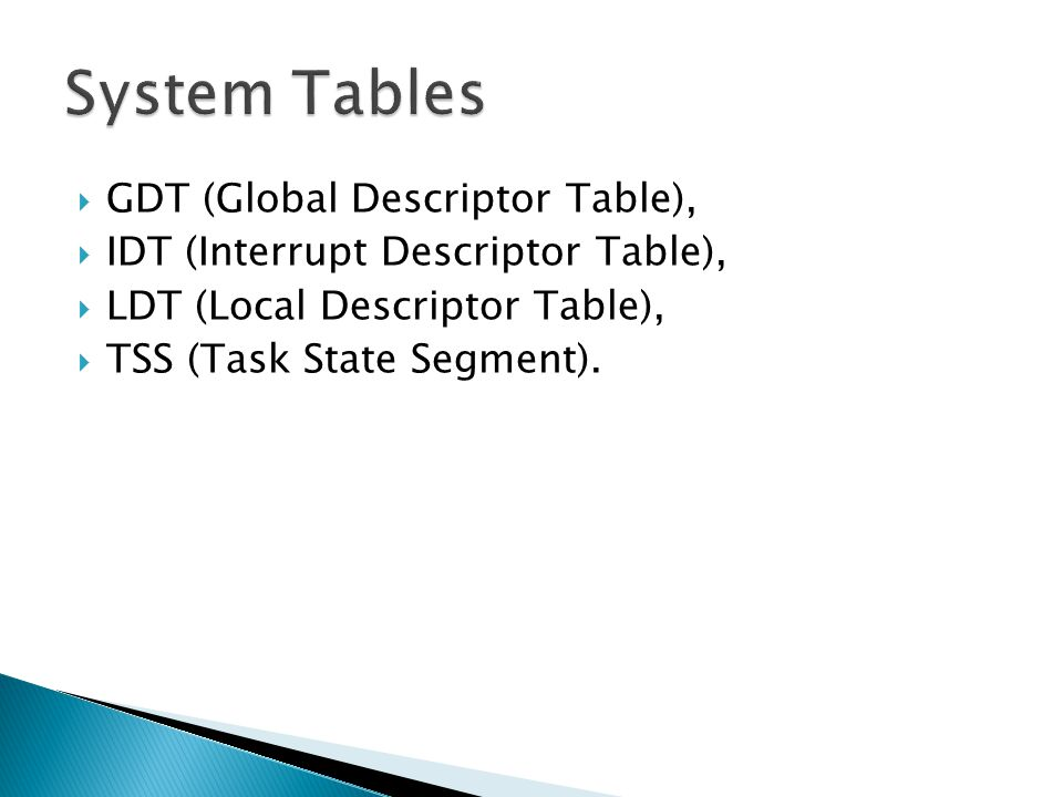 System Tables GDT (Global Descriptor Table),
