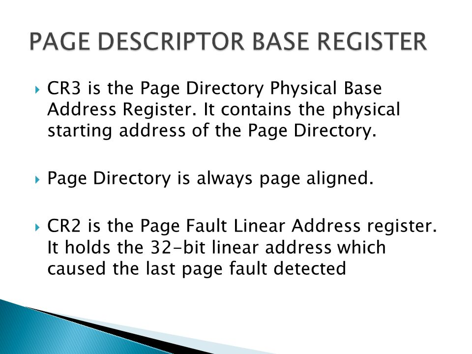 PAGE DESCRIPTOR BASE REGISTER