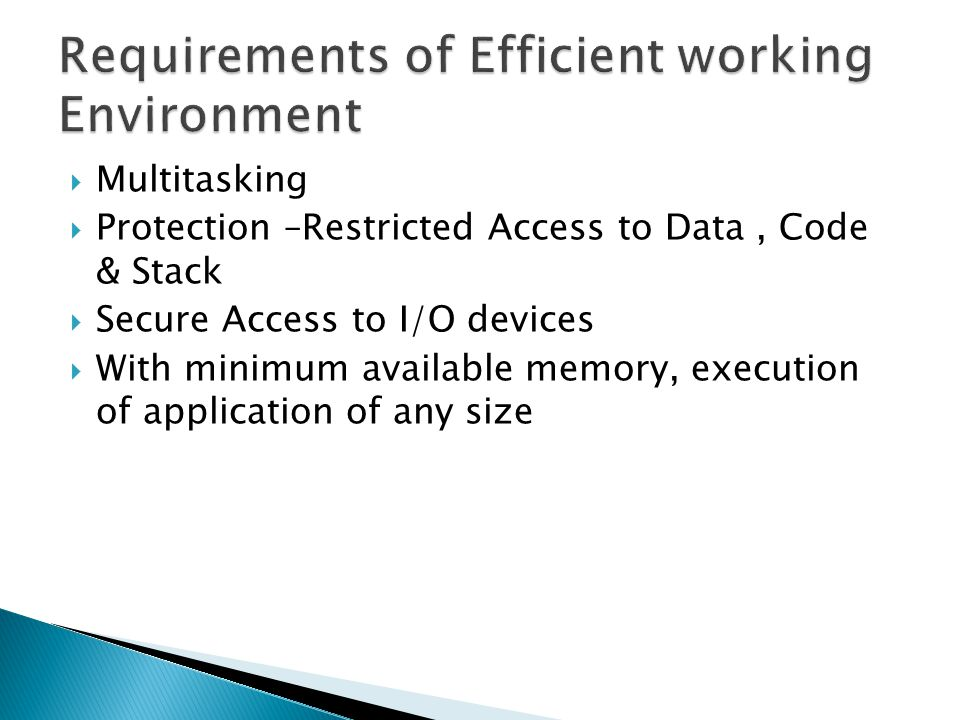 Requirements of Efficient working Environment