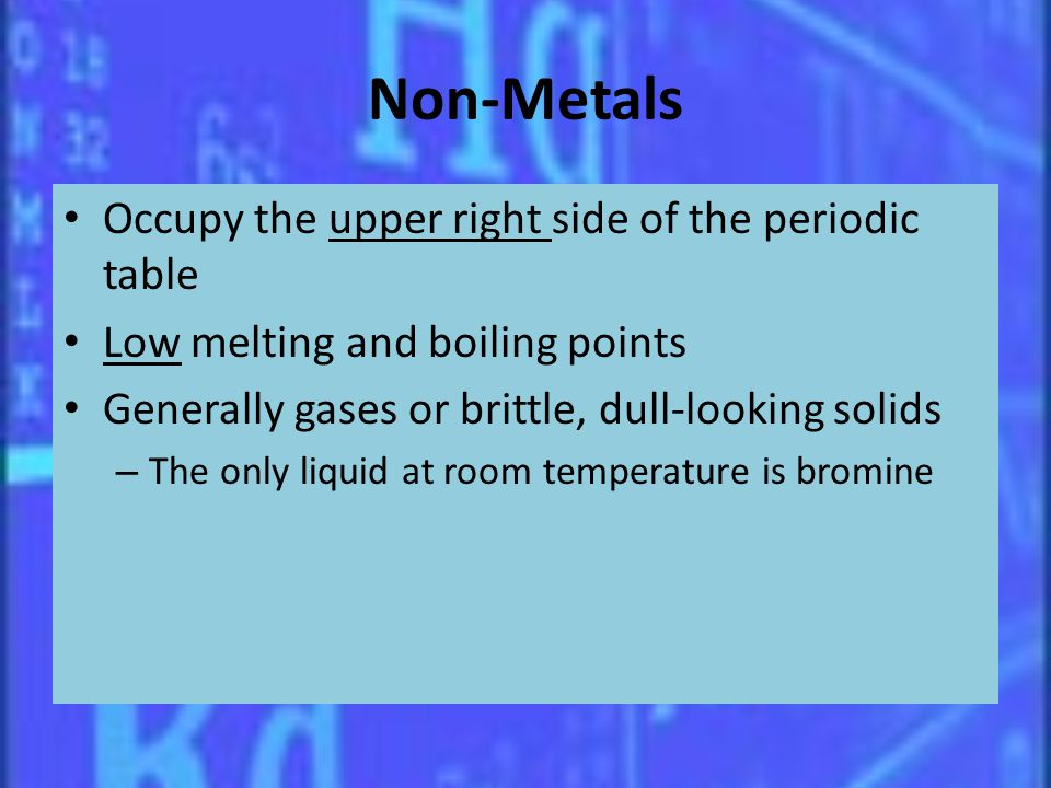 Non-Metals Occupy the upper right side of the periodic table