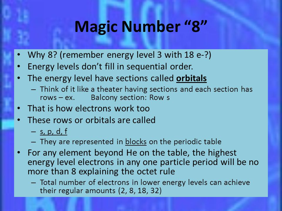 Magic Number 8 Why 8 (remember energy level 3 with 18 e- )