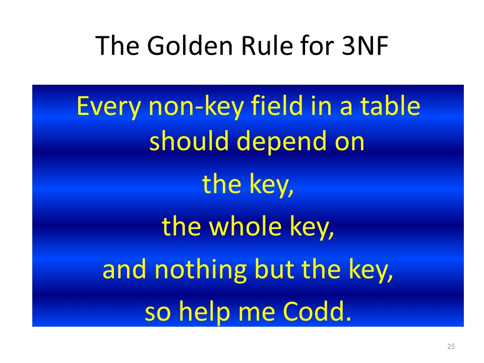 The Golden Rule for 3NF Every non-key field in a table should depend on the key, the whole key, and nothing but the key, so help me Codd.