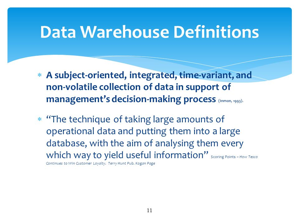 Data Warehouse Definitions