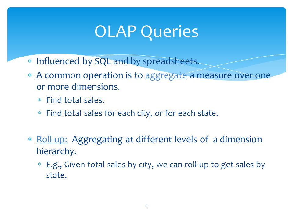 OLAP Queries Influenced by SQL and by spreadsheets.