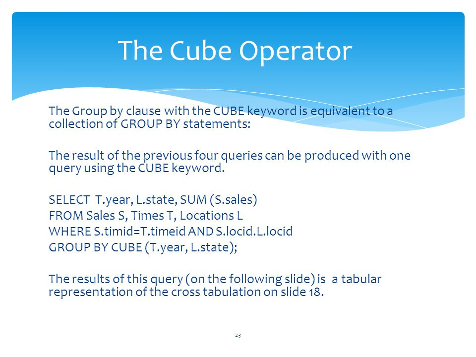 The Cube Operator The Group by clause with the CUBE keyword is equivalent to a collection of GROUP BY statements: