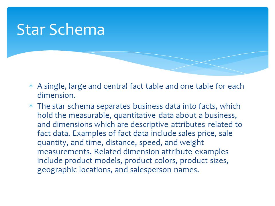 Star Schema A single, large and central fact table and one table for each dimension.