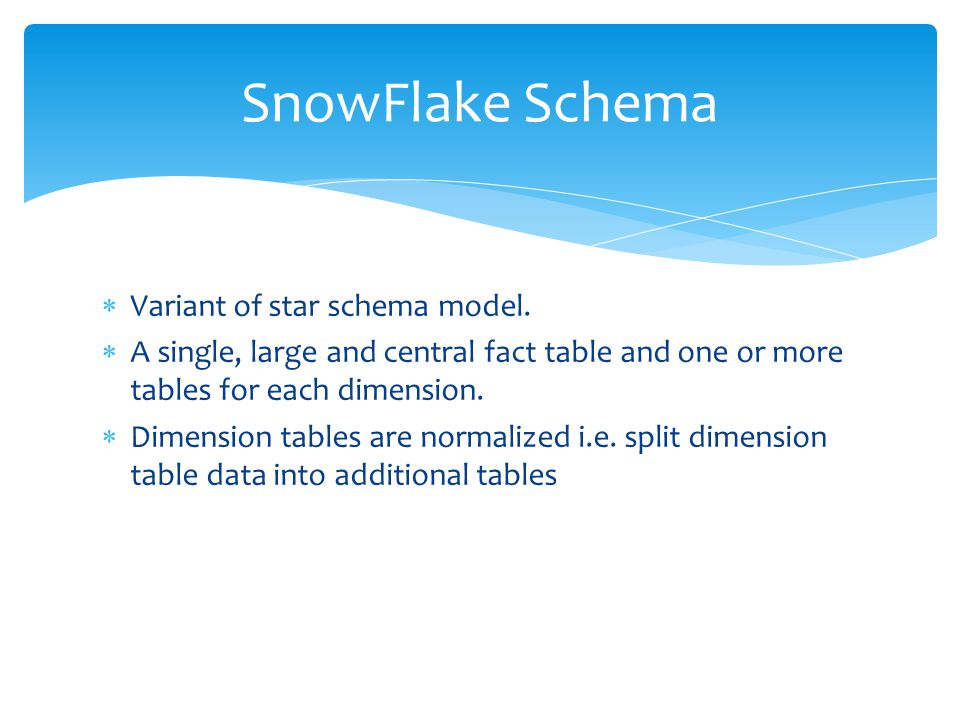 SnowFlake Schema Variant of star schema model.