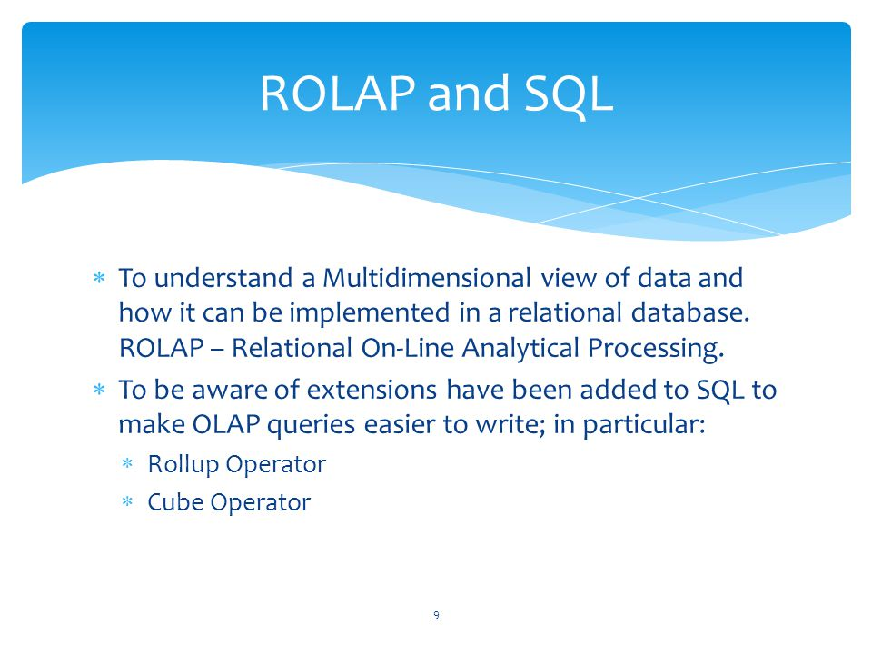 ROLAP and SQL