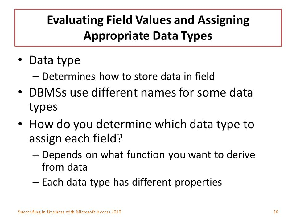 Evaluating Field Values and Assigning Appropriate Data Types