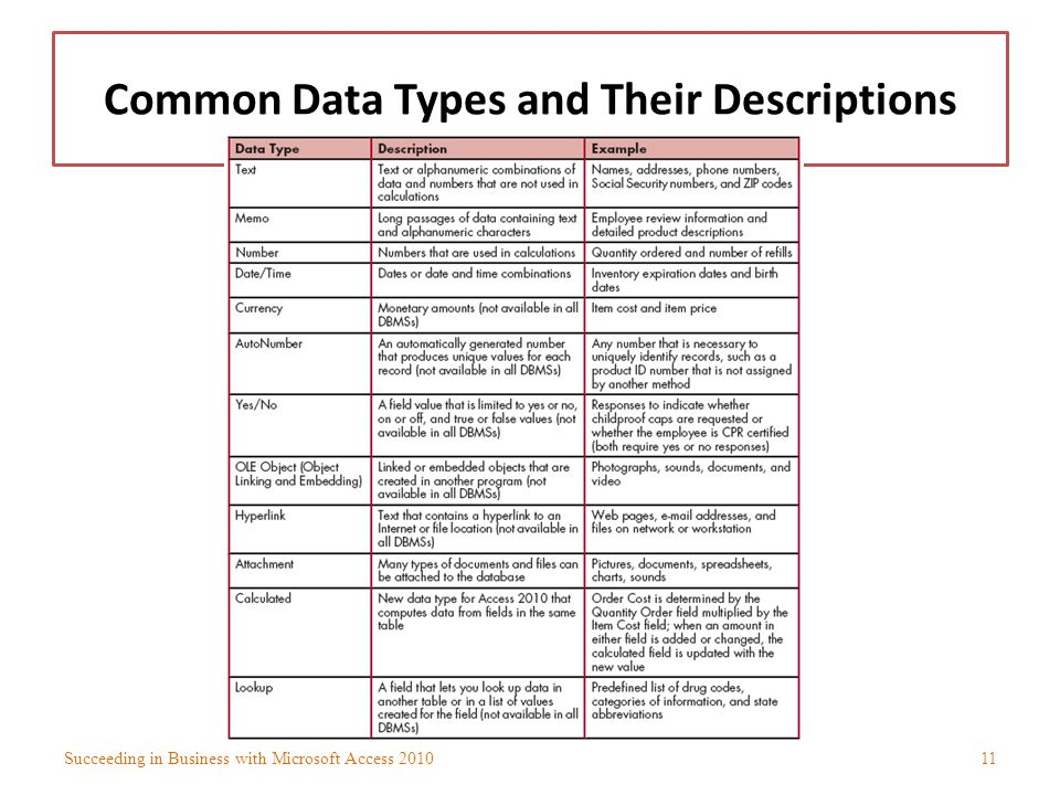Common Data Types and Their Descriptions