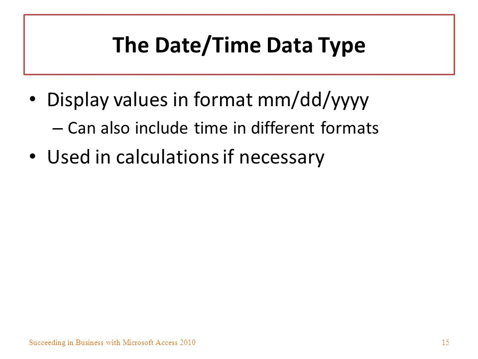 The Date/Time Data Type
