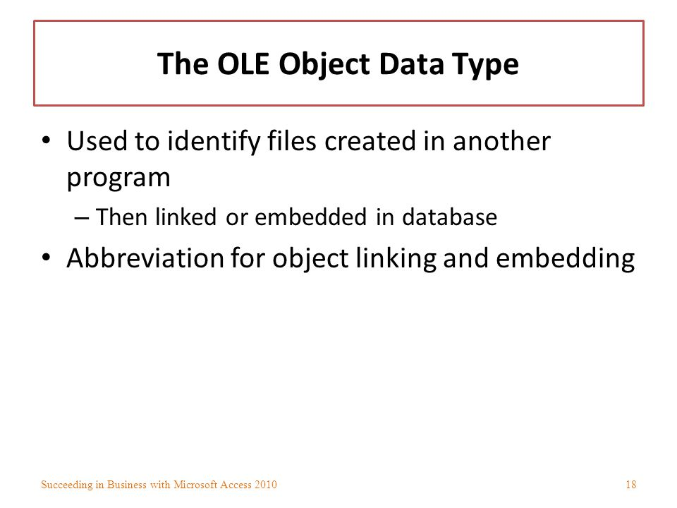 The OLE Object Data Type