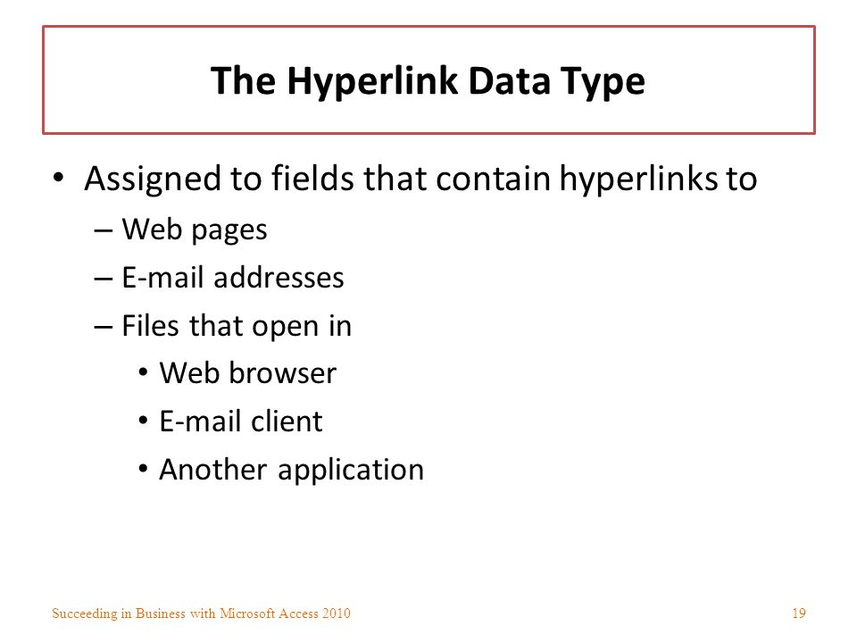 The Hyperlink Data Type
