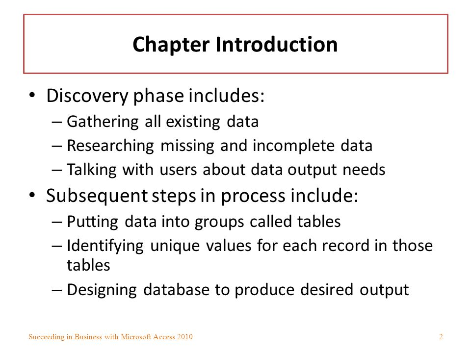 Chapter Introduction Discovery phase includes:
