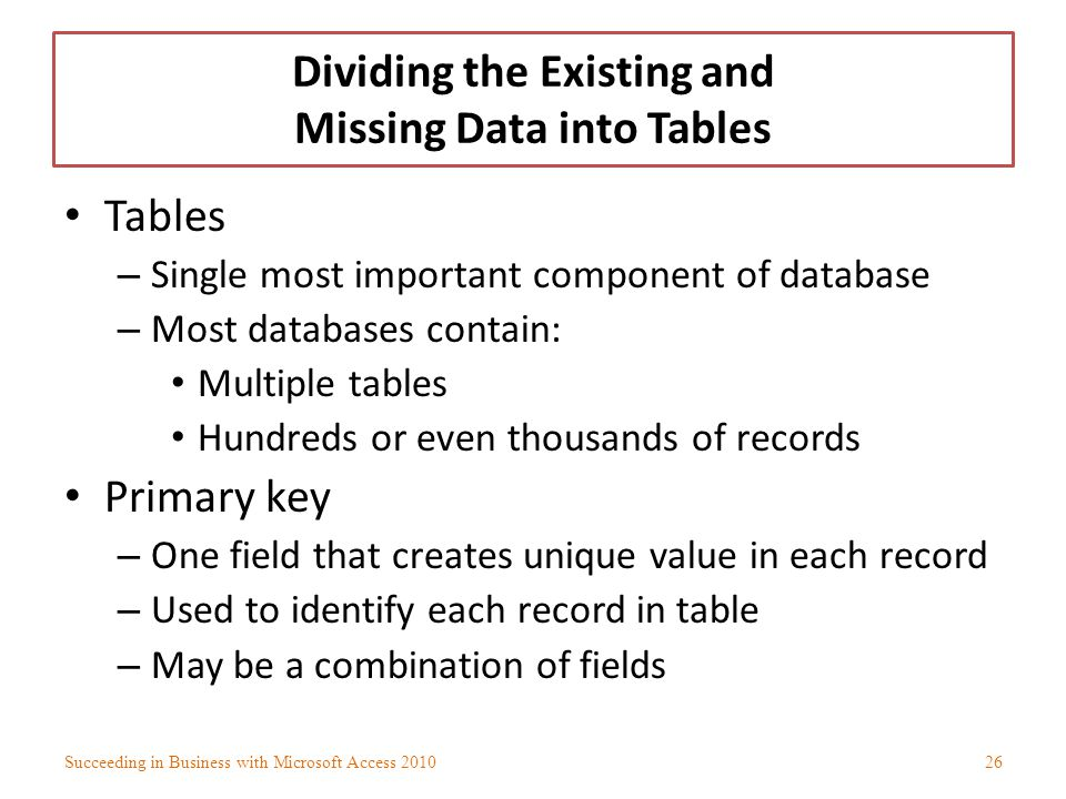 Dividing the Existing and Missing Data into Tables