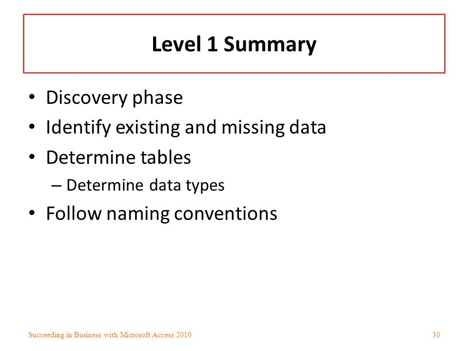 Level 1 Summary Discovery phase Identify existing and missing data
