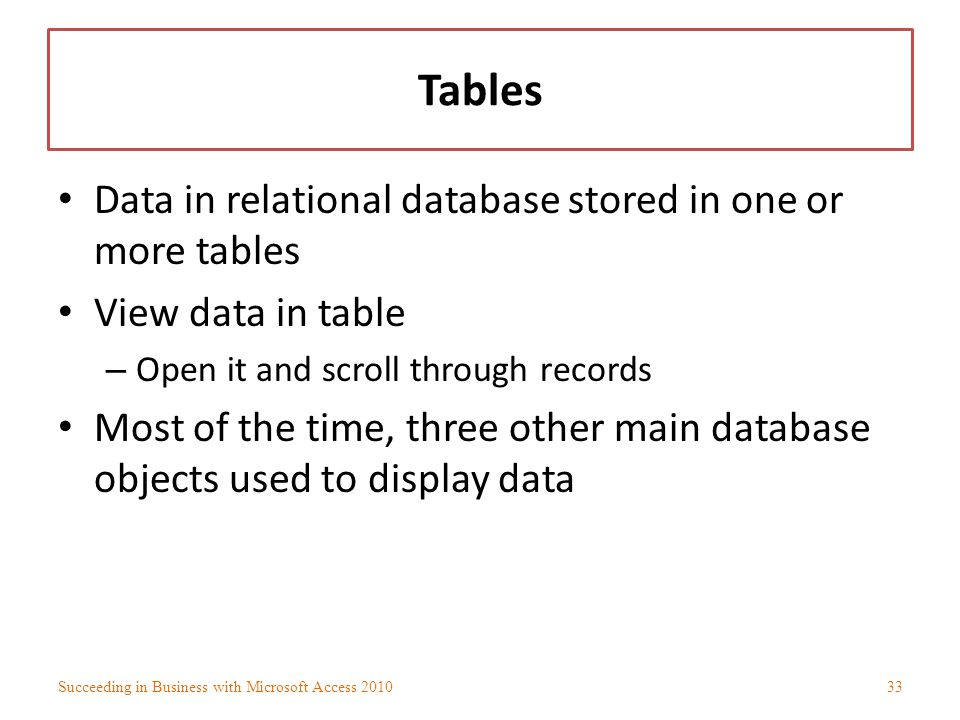 Tables Data in relational database stored in one or more tables