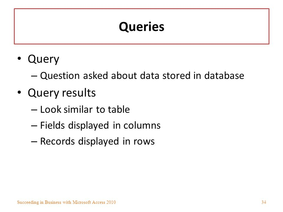 Queries Query Query results