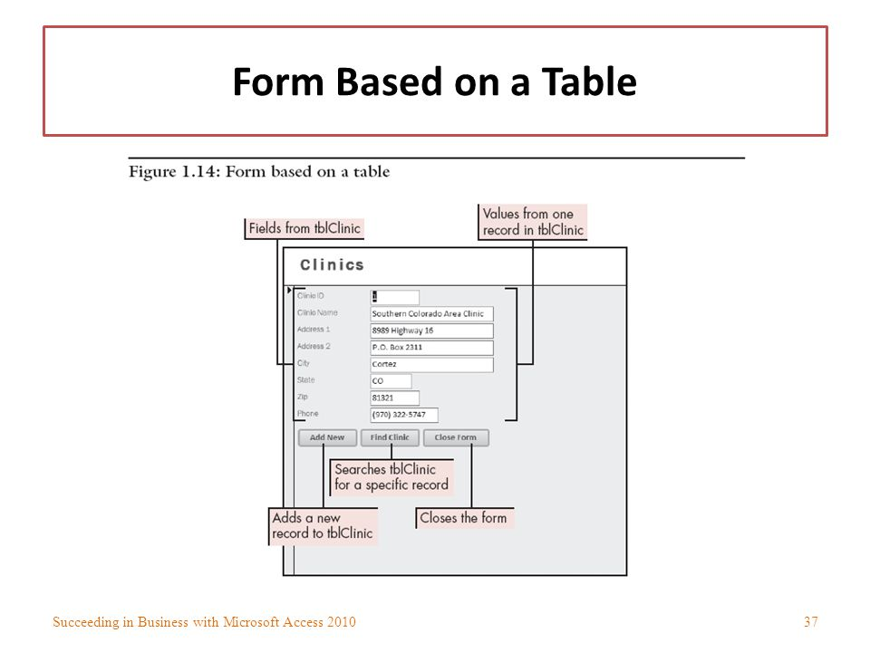 Form Based on a Table Succeeding in Business with Microsoft Access 2010