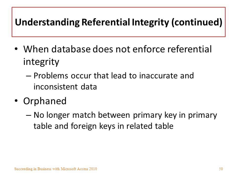 Understanding Referential Integrity (continued)