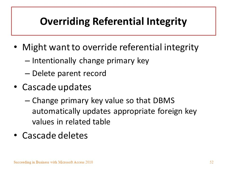 Overriding Referential Integrity