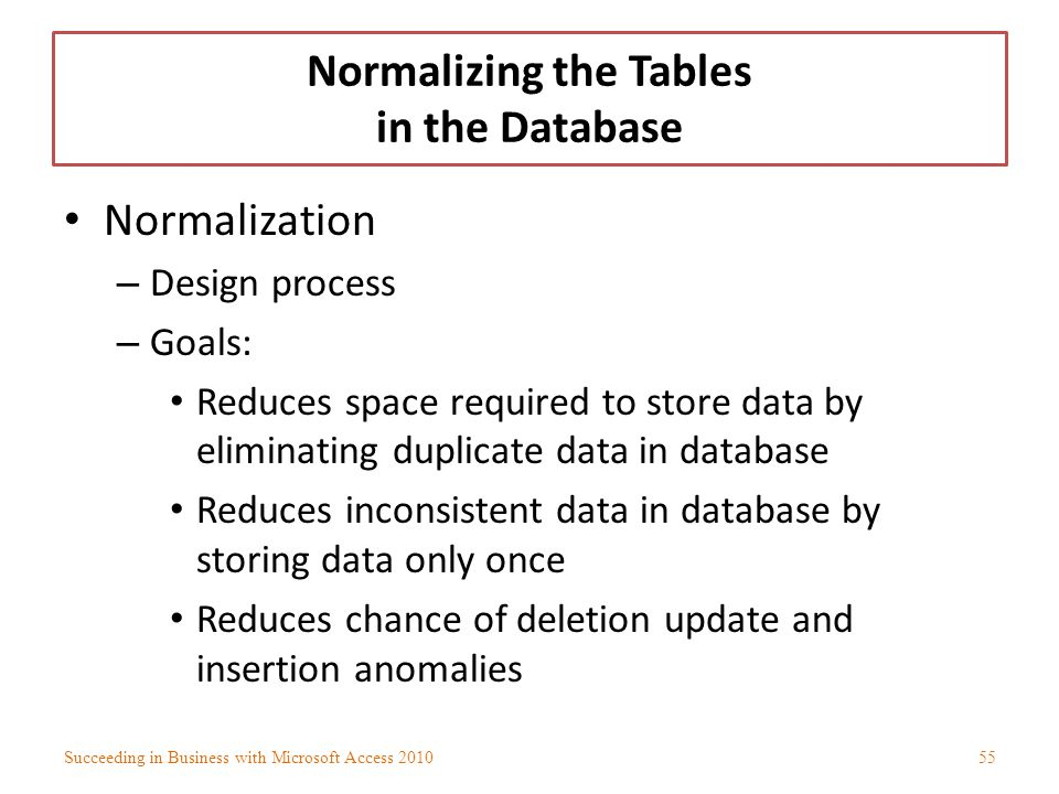 Normalizing the Tables in the Database
