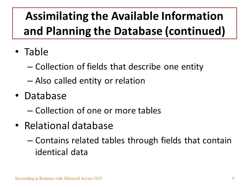 Assimilating the Available Information and Planning the Database (continued)
