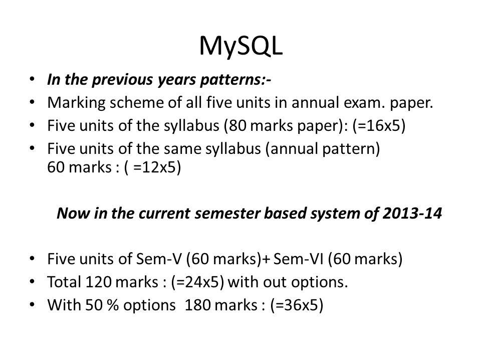 MySQL In the previous years patterns:-