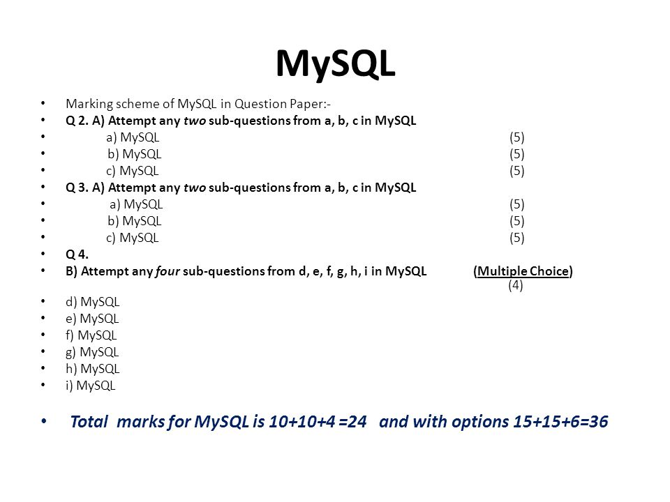MySQL Total marks for MySQL is 10+10+4 =24 and with options 15+15+6=36