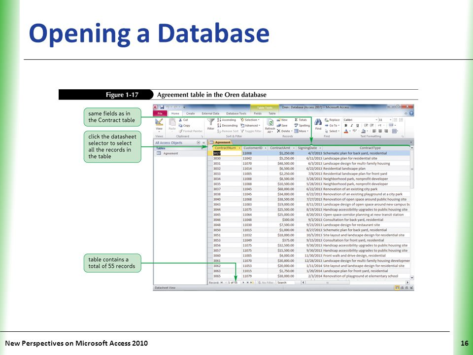 Opening a Database New Perspectives on Microsoft Access 2010