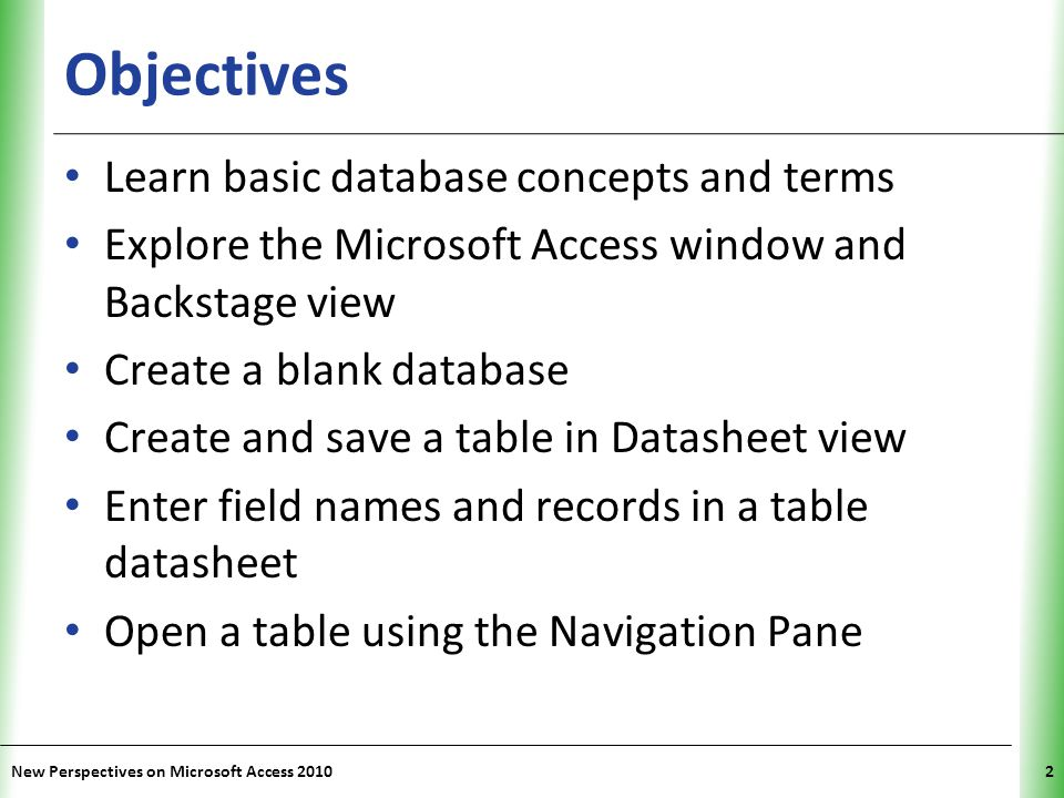 Objectives Learn basic database concepts and terms