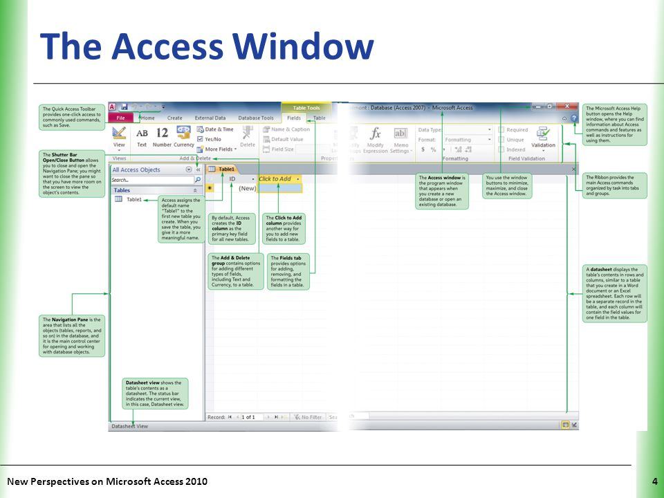The Access Window New Perspectives on Microsoft Access 2010