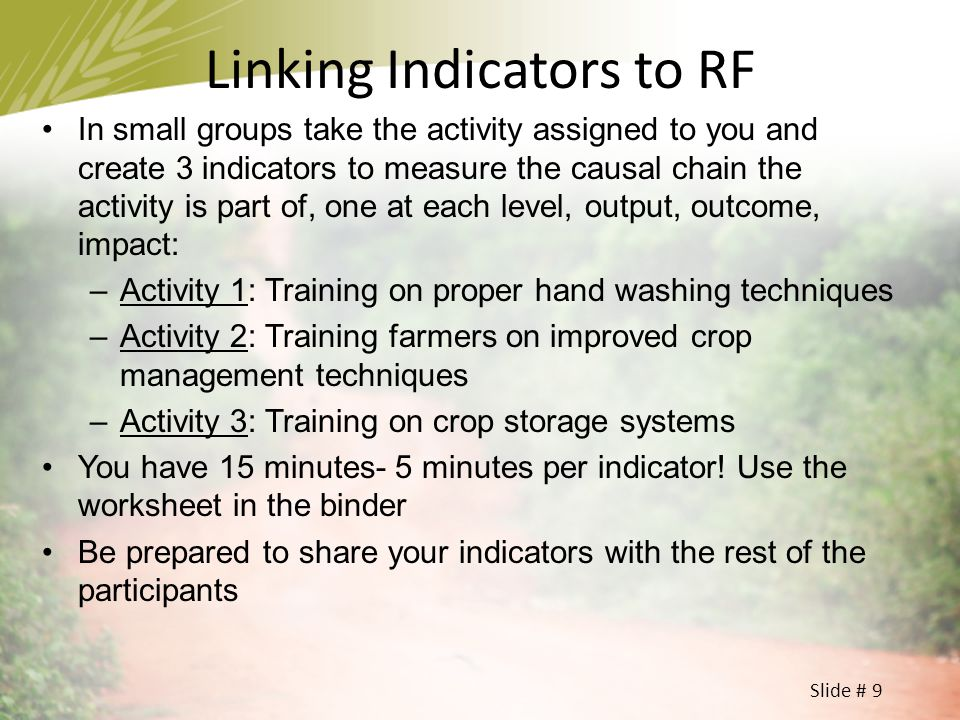Linking Indicators to RF