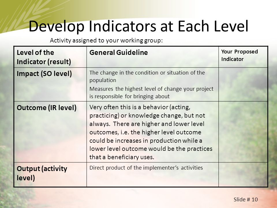 Develop Indicators at Each Level