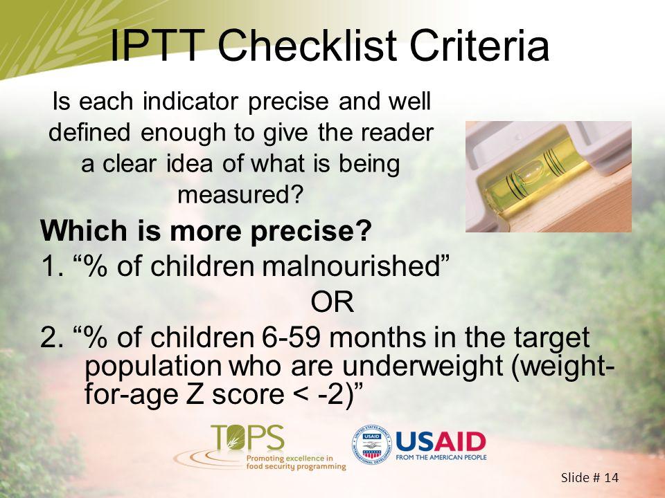 IPTT Checklist Criteria