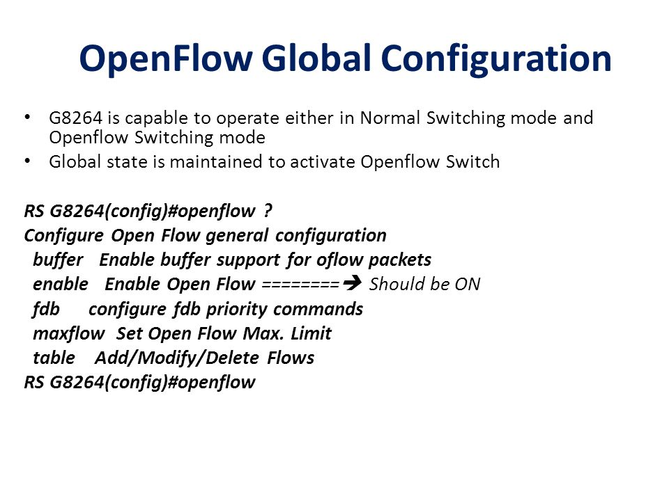 OpenFlow Global Configuration