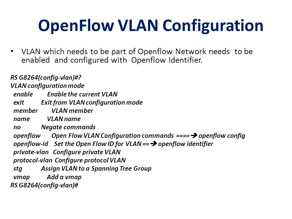 OpenFlow VLAN Configuration