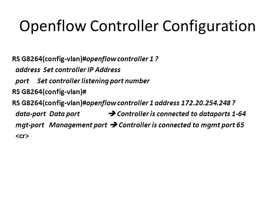 Openflow Controller Configuration