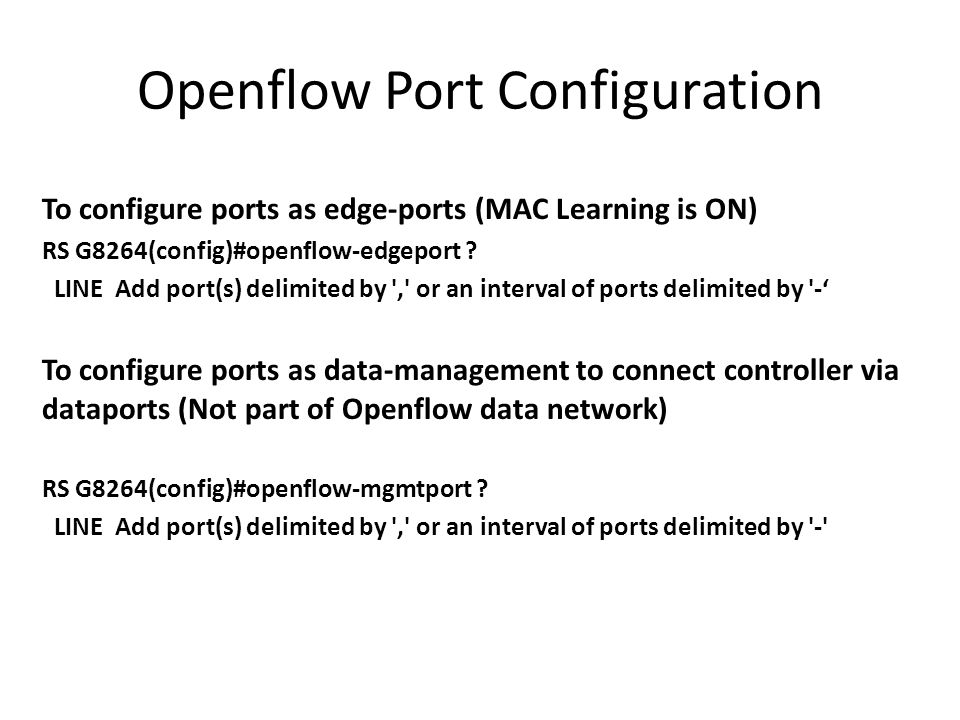 Openflow Port Configuration