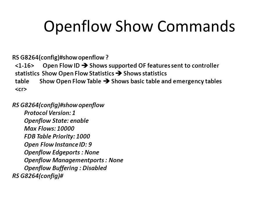 Openflow Show Commands