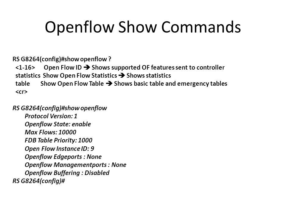 Openflow Show Commands
