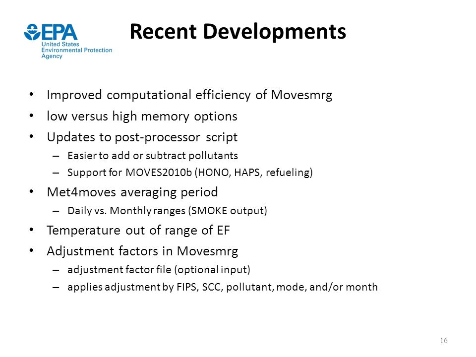 Recent Developments Improved computational efficiency of Movesmrg