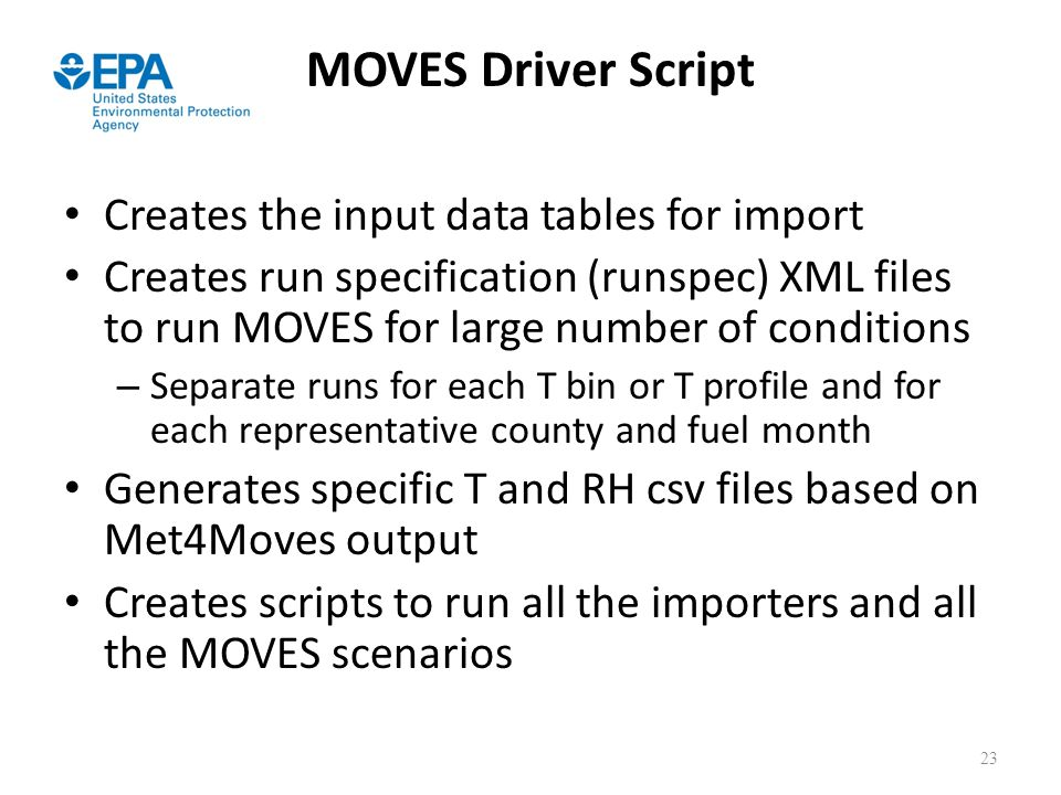 MOVES Driver Script Creates the input data tables for import