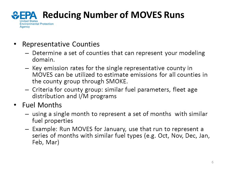 Reducing Number of MOVES Runs