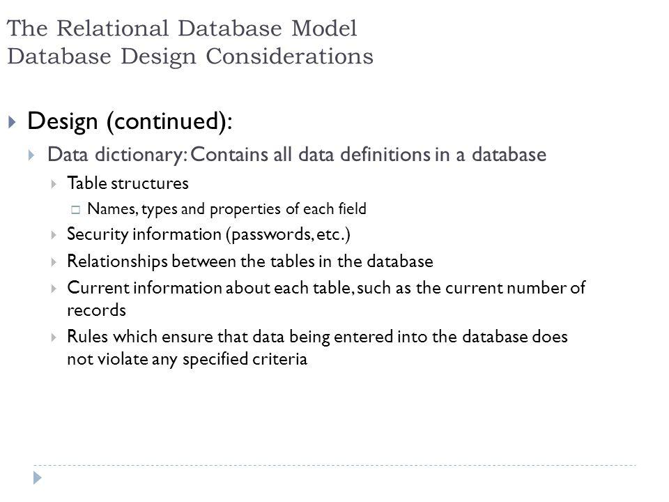 The Relational Database Model Database Design Considerations