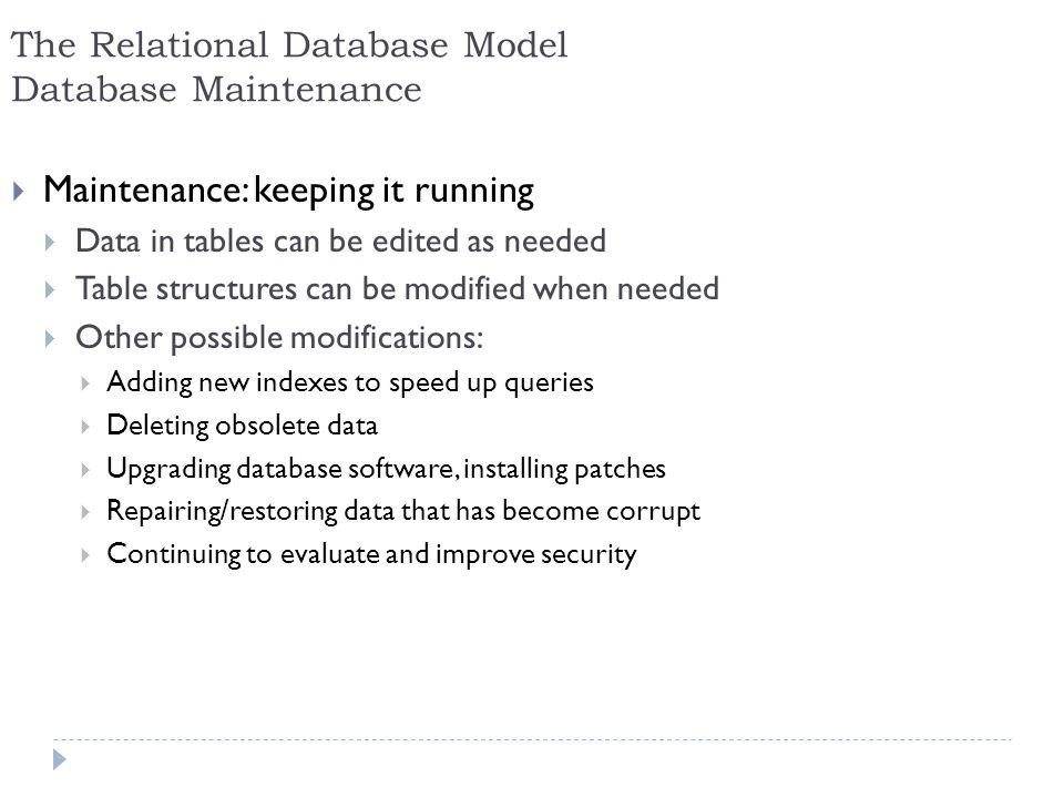 The Relational Database Model Database Maintenance