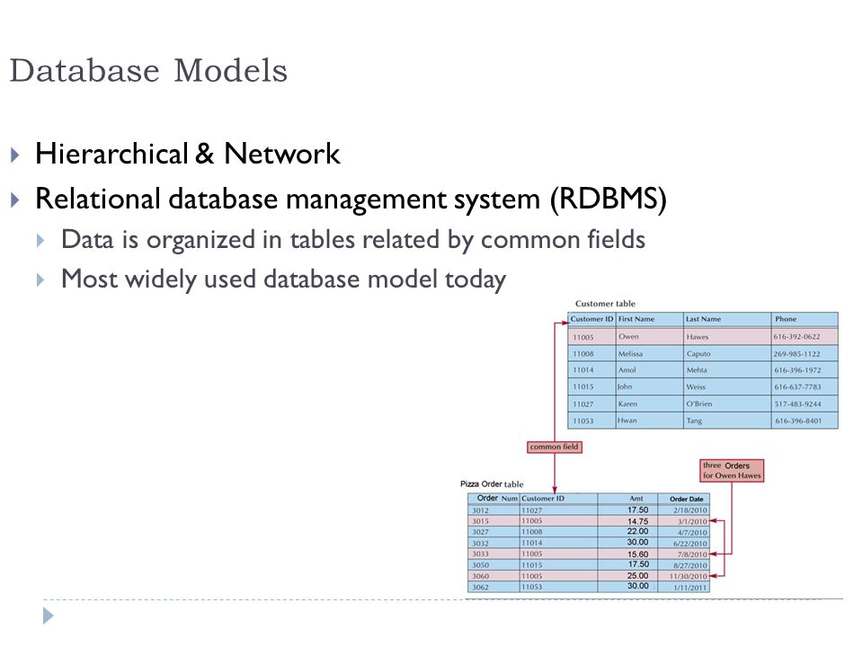 Database Models Hierarchical & Network